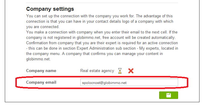 AHow to connect expert's globimmo.net account with company's globimmo.net account?