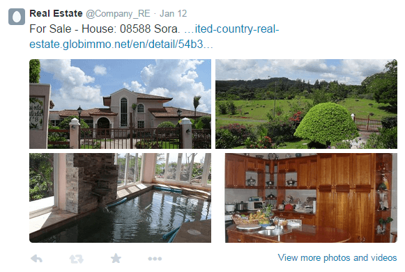 Your real estate listings on Twitter